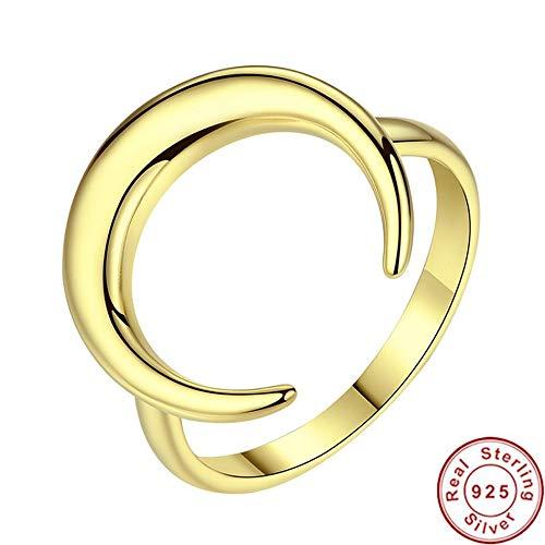 Hddwzh anello donna,in color giallo oro luna torero anelli per donne argento 925 anelli gioielli di nozze madre giorno dono,8