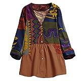 VEMOW Sommer Herbst Elegante Damen Plus Größe Dot Print Lose Baumwolle Casual Täglichen Party Strandurlaub Kurzarm Shirt Vintage Bluse Pulli(Y6-Mehrfarbig, EU-36/CN-S)