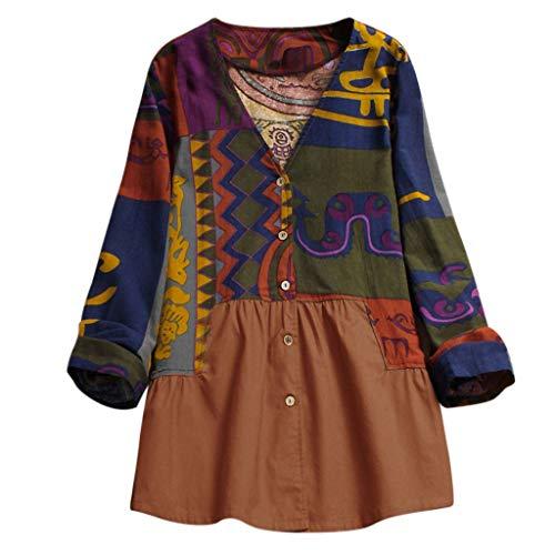 VEMOW Sommer Herbst Elegante Damen Plus Größe Dot Print Lose Baumwolle Casual Täglichen Party Strandurlaub Kurzarm Shirt Vintage Bluse Pulli(Y6-Mehrfarbig, EU-46/C-3XL)