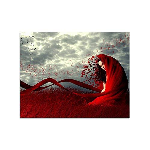WLKJ Boutique Rotes Kleid Dame DIY Ölgemälde Färbung Nach Zahlen Handgemachte Leinwand Malen Nach Zahlen Moderne Wohnkultur