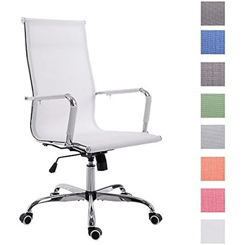 CLP Silla de oficina PAUL, con torniquete giratorio de metal sólido y tapizado de red, altura regulable del asiento entre 46-56 cm, báscula instalada blanco