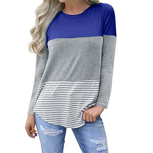Mutterschafts Basic Langarmshirt Bluse Frauen Schwangerschaft Langarm Spleißen Streifen T-Shirt Mutterschaft Top Kleidung Umstandsshirt Umstandstop Pullover Sweatshirt (Mutterschaft Shirt)