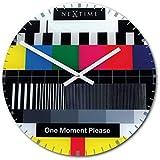 Nextime Prueba Página Reloj de Pared - 31 cm, Redondo con Estilo Muiticolour Cristal