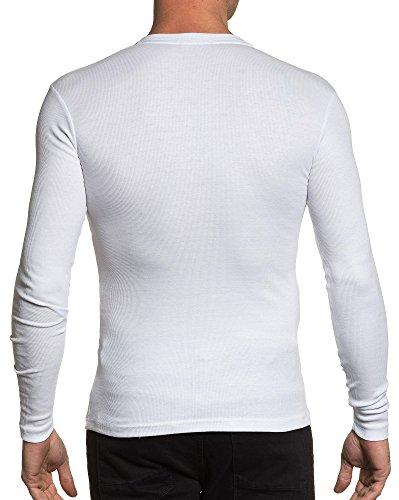 BLZ jeans - T-Shirt mit langen Ärmel weißen Mann gerippt Weiß