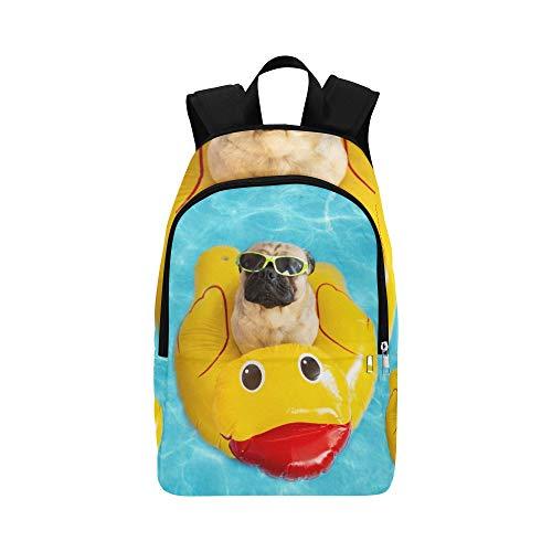 Netter Hund mit gelber Gummiente zufälliger Daypack Reisetasche College School Rucksack für Männer und Frauen -
