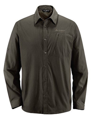 Vaude Farley T-Shirt manches longues Homme Marron - Vert kaki