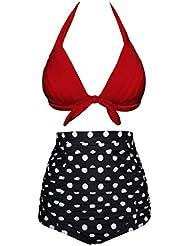 Angerella Retro Arruga Cintura Alta Traje de baño Bikini