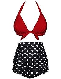 Aixy Femme Vintage Halter Neck Imprimé Floral Taille Haute Bikini Set
