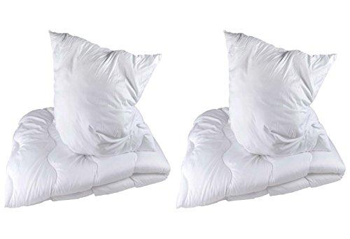 DOPPELPACK Betten Set Microfaser Decke + Kissen Kopfkissen Bettdecke 135x200 / 80x80 cm 2-teilig oder 4-teilig (4-teilig) Kopfkissen mit 1200g Füllung