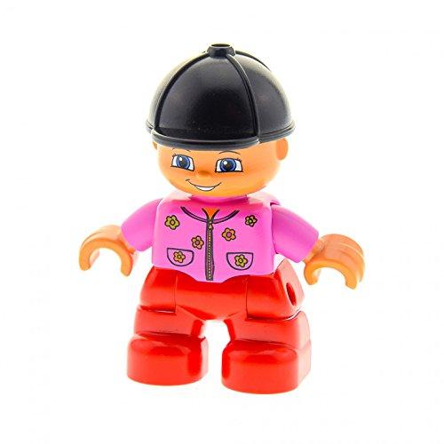 1 x Lego Duplo Figur Kind Mädchen Hose rot Jacke rosa mit Blumen Reiter Kappe schwarz Puppenhaus 47205pb018
