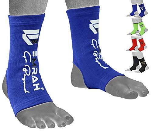 EMRAH Knöchel Fußstütze Fußkettchen Brace Pad Socke Kickboxen Thai Schutz MMA Ankle Support- X (Blau, Mittel) -