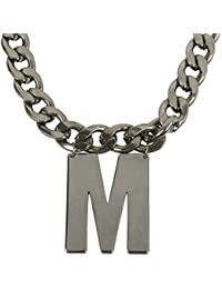 MUCH MORE Grey Tone Alphabet 'M' Letter Fashion Pendant With Chain For Unisex