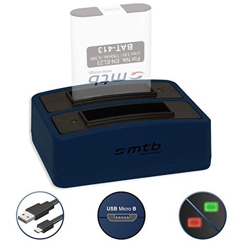 Caricabatteria doppio (USB) per EN-EL23   Nikon Coolpix B700, P600, P610, P900, S810c - Cavo USB micro incluso (2 batterie simultaneamente caricabili)