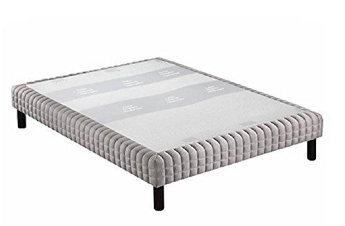 Boxspringbett-Epeda-Piqu-hellgrau-Komfort-flauschige-5-Zonen-Schlafsack-160-200-cm