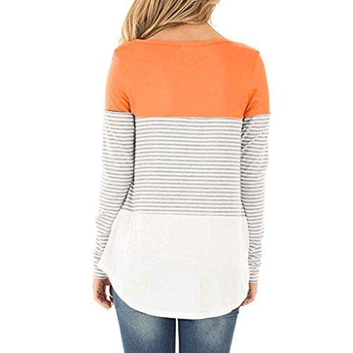 Minzhi Top da donna Casual a maniche lunghe in cotone Color Block a righe T-Shirt Tunica camicetta Pullover Bottoming Shirt arancia