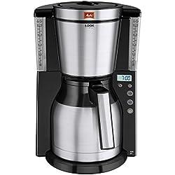 Melitta Cafetera de filtro con jarra isotérmica, Función temporizador, Selector de aroma, Look Therm Timer, Negro/Acero inoxidable mate, 1011-16
