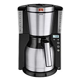Melitta Filter Coffee Machine with Insulated Jug, Timer Feature, Aroma Selector, Look Therm Timer Model, Black/Brushed Steel, 1011-16