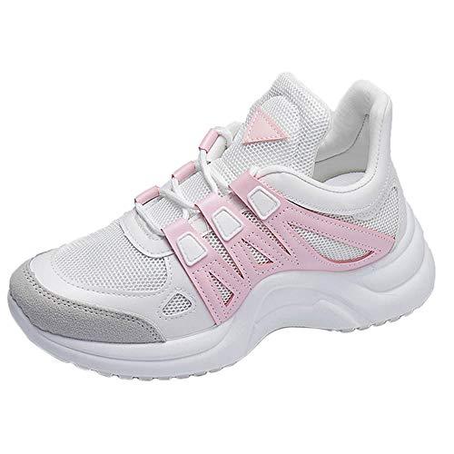Meilleure Vente!Baskets Femmes,LuckyGirls Mixte Adulte Homme Femme Air Casual Baskets Chaussures de Course Sneakers Outdoor Running Sports Fitness Gym Respirante Shoes 35-43 (43, Rose)