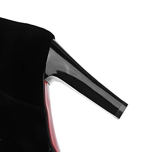 Costura Zipper Botas Do Senhoras Preto Rodada Voguezone009 Nubuck Toe Alto Salto aHXIqnxz