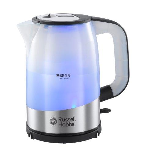 Russell Hobbs 18554-70 Purity Wasserkocher mit Brita Maxtra Filtertechnologie (gratis Filterkartusche,2200 Watt) leuchtet blau