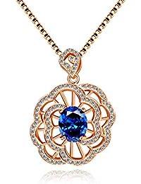 c8ce3cbf6e Uloveido donna ovale in argento Sterling 925 e zaffiri 2.3 ct rose fiore ciondolo  collana placcata