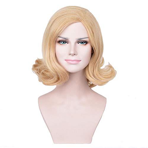 RATWIFE Gold Braun Mix Farbe schrägen kurzen lockiges Haar Mode Frauengesicht Chemiefasern