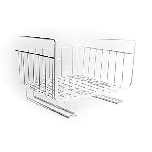 Metall Eisen Mesh Rack, Bücherregal Schrank Schrank organisieren Lagerung Einsatzkorb, hängenden Rack (weiß) Hängende Lagerung-körbe