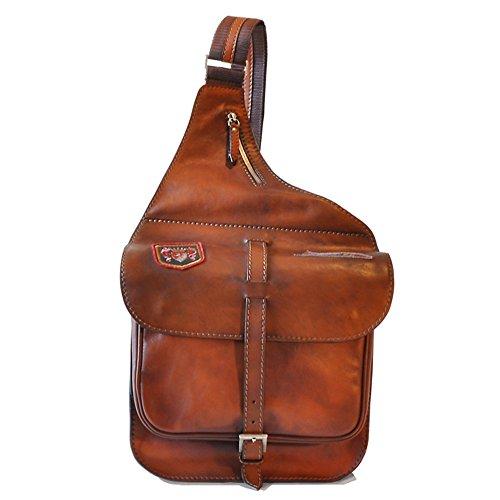 Pratesi Bisaccia cuir italien Croix corps Saddle Style Bag, sac à bandoulière (marron) marron