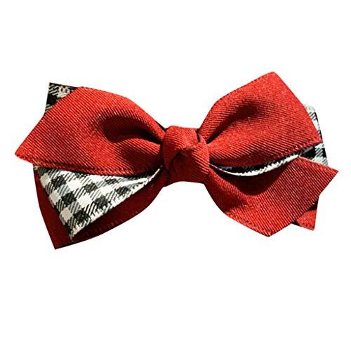 kolila Damen Günstige Bogen Stirnband Haarspange Ausverkauf !!! Mode Plaid Haarband Zubehör Stirnbänder Frauen Mädchen(Rot)