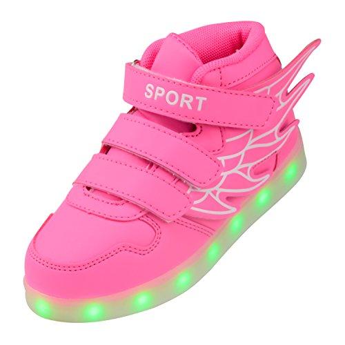 size 40 e8c19 ea778 Gloria JR Kind-Jungen-Mädchen USB-aufladende LED-Schuhe blinkende  Turnschuhe (EUR34, Rose)