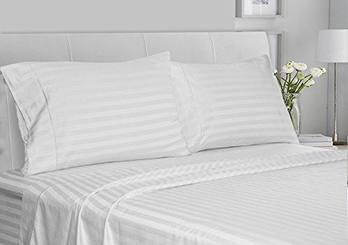 Chateau Home Collection Luxus 100% Supima Baumwolle Fadenzahl 500Ultra Weiche Damast Streifen-Bettlaken-Set, Mega Verkauf–niedrigsten Preisen, baumwolle, weiß, Queen (Supima-baumwolle Bath Sheet)
