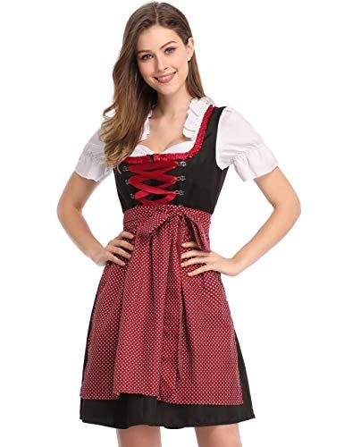 Clearlove Dirndl 3 TLG.Damen Midi Trachtenkleid für Oktoberfest,Karneval,Spitzen Kleid&Bluse&Schürze (42, Rot Dot)