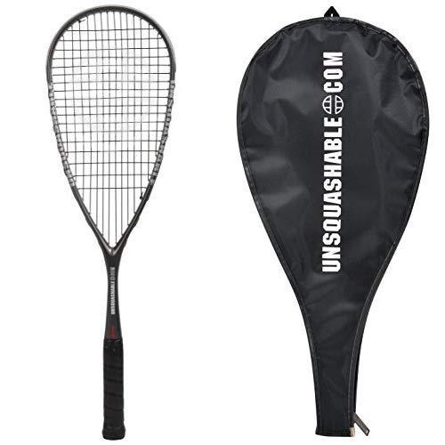 Unsquashable Squashschläger Inspire Y-8000, Long-String, 100% Carbon4 mit Kevlar, Profiracket mit max. Power, 296169 & Unsquashable 3/4 Squash-Schlägerhülle, 299998