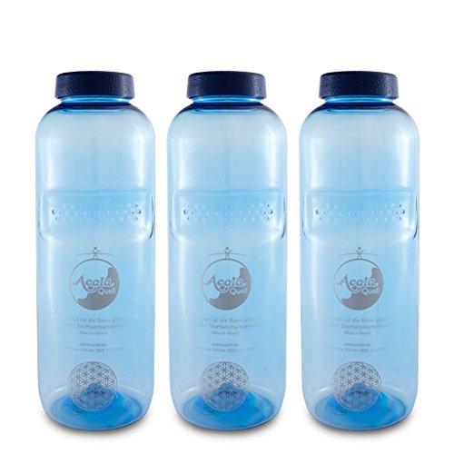 Tritan Trinkflaschen 0,75 Acala Sparset mit Blume des Lebens 3er Pack 0.75