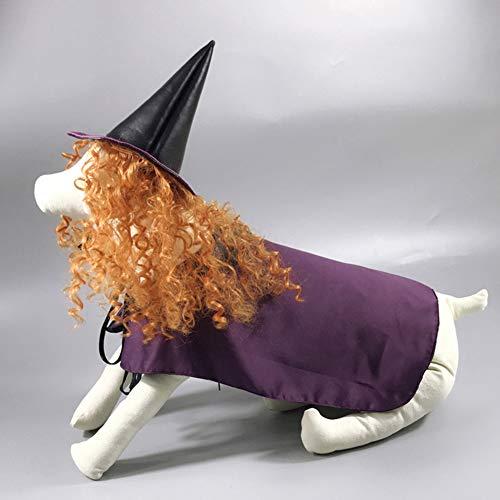 Saisonale Kostüm - RONSHIN Halloween Cosplay Hexe lila Mantel Schal Perücke Kostüm für Haustier Hund Lieferungen Purple XL
