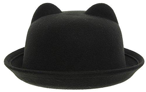YueLian Niñas Accesorio para Vestidos Orejas de Gato Gorra Infantil con Ala Sombrero de Copa Bombín (Negro)