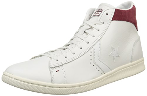 Converse, Pro Leather Lp Mid Leather Sneaker,Unisex Adulto White Dust/Maroon