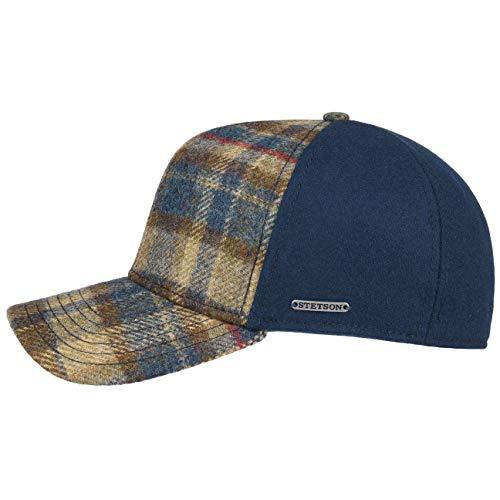 Stetson Virgin Wool Check Basecap Wollcap Wintercap Baseballcap Cap Damen/Herren   Hinten geschlossen, mit Schirm, Futter Herbst-Winter   M (56-57 cm) blau -