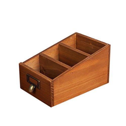 Kentop Schreibtisch Organizer Holz Tischorganizer Stiftehalter Stiftköcher Schublade Desktop Organisator mit 3 Fächern für Kosmetik, Stifte, Handy, Fernbedienung - Schublade Desktop