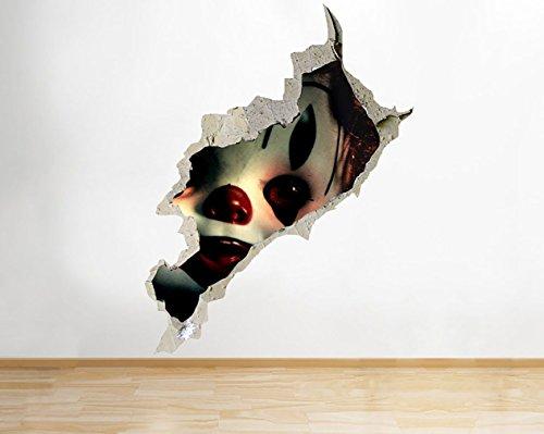 tekkdesigns G523Cool Horror Puppe Scary Clown zerstörten Wand Aufkleber 3D Kunst Aufkleber Vinyl Raum (Scary Clown-puppe)