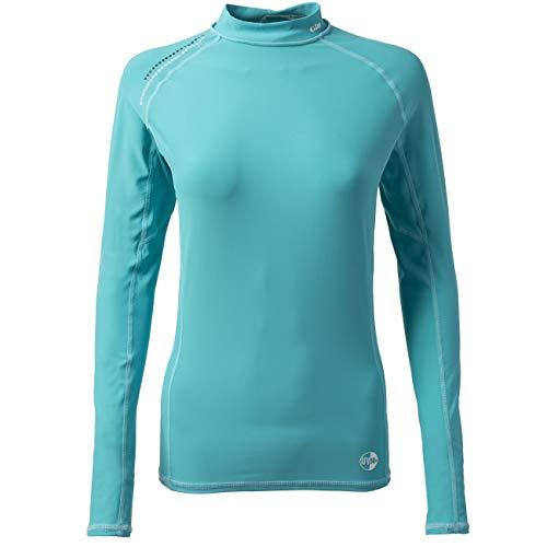 Gill Womens Pro Langarm Rash Vest Top Aqua - Leichter Stretch UV Sonnenschutz und SPF Eigenschaften -