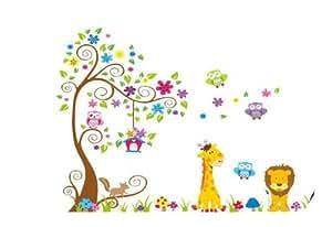 Animaux de la forêt girafe, lion et la chouette jeu sur l'arbre coloré stickers muraux