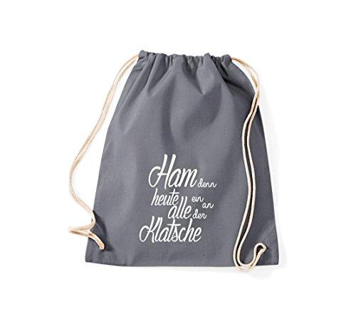 Shirtstown Gymsac iconica motto: ham perché oggi tutti ein sulla Clap - bianco, 37 cm x 46 cm Grau