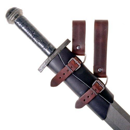 Mittelalterliches Schwertgehänge aus Leder mit Schnallen und Gürtelschlaufen Farbe braun