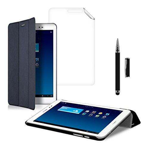 kwmobile 3in1 Set: Smart Cover Case für Huawei MediaPad T1 8.0 Honor T1 mit Ständer - Schmale Ultra Slim Hülle aus Kunstleder in Dunkelblau + Folie, kristallklar + Stylus, Schwarz