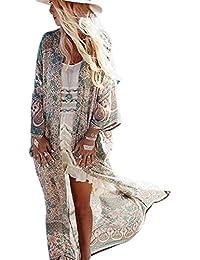 ee1efbe84 Womens Chiffon Beach Swimsuit Bikini Cover Up Summer Floral Long Kimono  Cardigan Dress