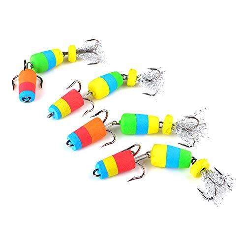 iSpchen Fischköder mit Haken Angelgerät-Set Angeln gefälschte Köder Insekten DREI Ankerhaken Schaum Angeln Multi-Colored