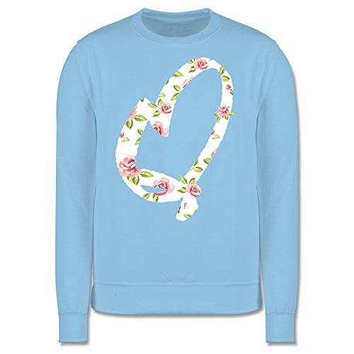 Anfangsbuchstaben - Q Rosen - Herren Premium Pullover Hellblau