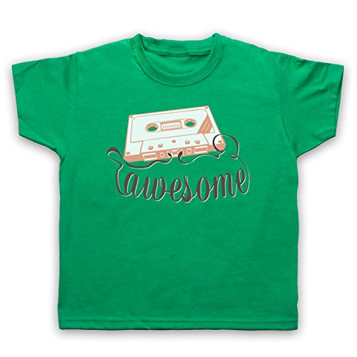 My Icon Art & Clothing Cassette Tape Awesome Text Camiseta para Niños, Verde, 3-4 Años