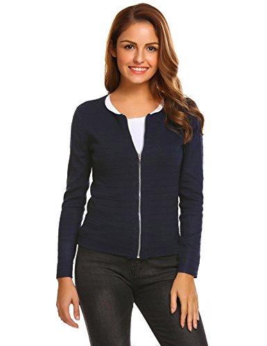 Beyove Damen Cardigan Strickjacke Kurz Strickmantel Pullover Feinstrick Strick Tops Outwear Hersbt Winter mit Reißverschluss Blau S